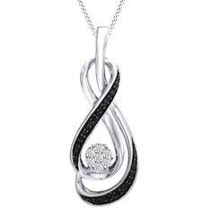 """Black & White Diamond Infinity Necklace w 18"""" Chain Sterling #Affinityhomeshopping"""