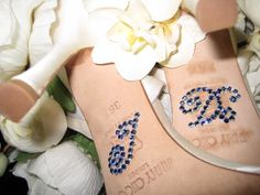 """#4 Something Blue: I really want the wedding to be in black and gold with the flowers as the only color accent, so the perfect way to keep the traditional """"something blue"""" would be to hide it in a simple message on my shoes #modcloth #wedding"""