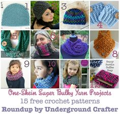 #FlashbackFriday #crochet #linkblast - roundup of 15 free patterns for one-skein projects in super bulky yarn on @ucrafter