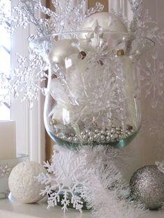 Winter holiday decor. Christmas centerpiece. Homespun With Love: Winter Mantel
