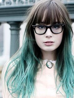 Long hair with bangs, long black hair, bangs and glasses, balayage hair, om Dye My Hair, Your Hair, Blue Dip Dye Hair, Teal Hair, Turquoise Hair Ombre, Lilac Hair, Coloured Hair, Mermaid Hair, Mode Inspiration
