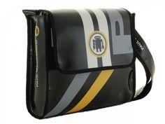 1e60edf097 Sholder bag Paul Meccanico in pvc. Borsa a tracolla uomo o donna dotata di  chiusura a strappo. Prodotto colore nero fatto a mano in Italia.