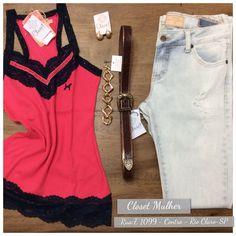 Look Closet Mulher  Top, jeans, acessórios. www. Facebook/closetmulher.com