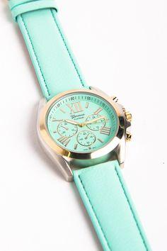mint + gold watch