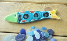 Large multicolored sardine, ceramic, to hang or lay - ceramic wall art - Navy-piece decoration