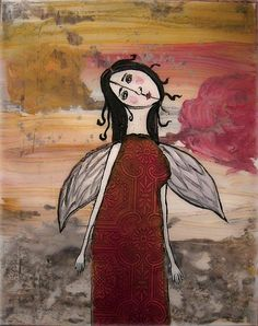Gothic Angel Painting by Laura Carter.