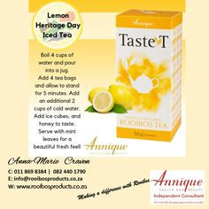 Lemon Iced Tea #rooibos #annique Iced Tea, Lemon, Therapy, Fruit, Food, Products, The Fruit, Ice T, Meals