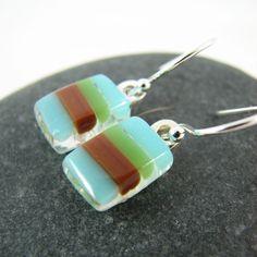 Modern Stripes Fused Glass Earrings  Blue Brown by GlassElements, $24.00 #jewelry #summer