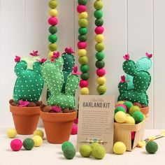Yellow, greens and a bright pop of pink! Wool felt balls with a flair of the southwest in Lemonade, Fern, Leaf, Meadow, and Magenta. We love using our pom-pom