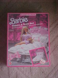 Barbie Sweet Roses Ribbons Roses Bed....had this.  the bed spread and head board were both reversible, one side a ribbons design, the other side roses
