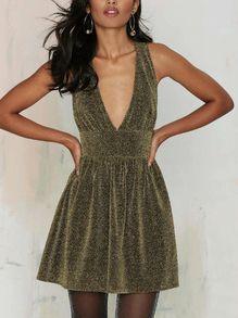 Gold Deep V Neck Sleeveless Flare Dress