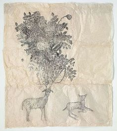 """kiki smith - """"two deers with antlers"""", ink on nepal paper, 59 x 50 inches. Kiki Smith, Art And Illustration, Collage, Feminist Art, American Artists, Graphic, Zine, Oeuvre D'art, Les Oeuvres"""