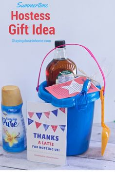 If you're going to a party this summer, create this Hostess Gift: Breakfast in a Sand Bucket! They'll appreciate your gift and all of the goodies included.