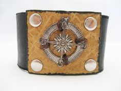 Compass Bracelet Compass Leather Bracelet by Treeleafleather