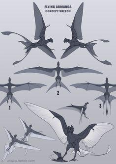 Flying armanda [concept sketch] by AniutqaART on DeviantArt Mythical Creatures Art, Alien Creatures, Magical Creatures, Fantasy Monster, Monster Art, Creature Concept Art, Creature Design, Character Design Inspiration, Fantasy Character Design