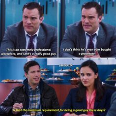 Tv Funny, Funny Laugh, Hilarious, Jake And Amy, Brooklyn Nine Nine, Parks N Rec, Tv Show Quotes, Best Tv Shows, Just In Case