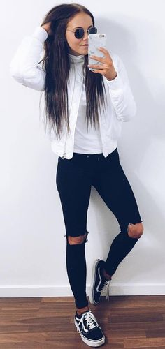white and black outfit bomber + top + rips
