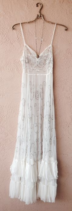 Image of Rare Free People Beaded Sparkle and whimsy Slip dress lace silk chiffon gypsy bride