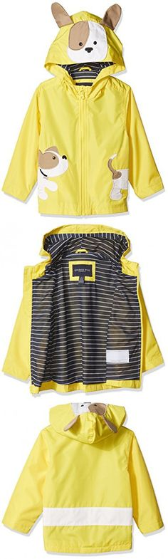 London Fog Baby Boys Little Animal Rainslicker Rain Jacket, Yellow Puppy, 18M