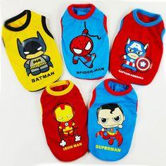 Super heroes gilet chien vêtements pour animaux chiot vêtements 2015 printemps et l'été nouvelle arrivée petit chien t - shirt vêtements pour chiens