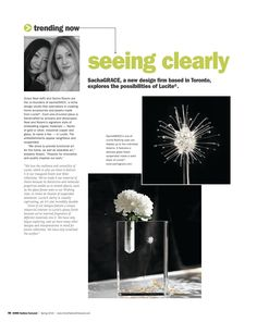 """SashaGRACE, a new design firm based in Tornoto, explores the possibilities of Lucite. http://editiondigital.net/publication/?i=296786#{""""issue_id"""":296786,""""page"""":70}"""