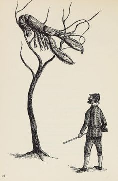 There Was a Hunter from Littletown. Illustration by Edward Gorey for The Man Who Sang the Sillies (1961).
