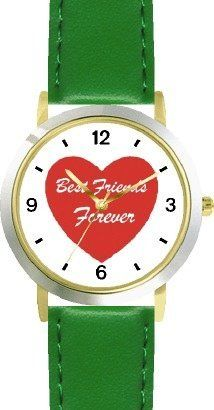 Red Heart - Best Friends Forever - Love & Friendship Theme - WATCHBUDDY® DELUXE TWO-TONE THEME WATCH - Arabic Numbers - Green Leather Strap-Children's Size-Small ( Boy's Size & Girl's Size ) WatchBuddy. $49.95. Save 38% Off!
