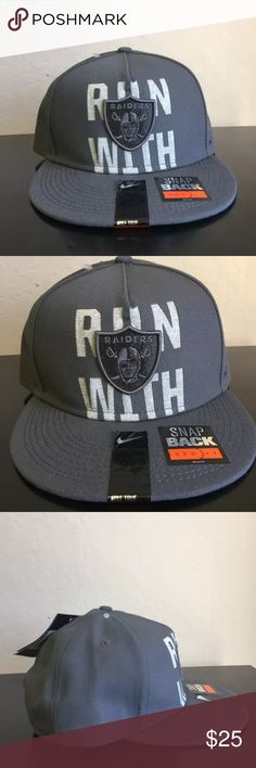 RARE Nike True Run With Oakland Raiders Hat RARE Nike True Run With Oakland Raiders Snapback Hat Cap   Brand : Nike  Team : Oakland Raiders  Size : Adjustable  Color : Gray  Material : 100% Polyester  Black swoosh embroidered on the left side of the hat  Brand new with tags  PLEASE SEE MY OTHER HATS FOR OTHER GREAT DEALS Nike Accessories Hats