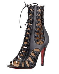 Christian Louboutin Azimut Caged Leather Bootie
