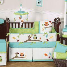 Sweet Jojo Designs Hooty Turquoise and Lime 9 Piece Crib Bedding Set & Reviews | Wayfair
