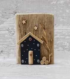 Your place to buy and sell all things handmade Wooden Art, Wooden Crafts, Diy And Crafts, Arts And Crafts, Wood Block Crafts, Wood Projects, Craft Projects, Small Wooden House, Wooden Houses