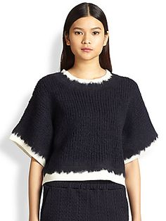 3.1 Phillip Lim Frayed-Effect Boxy Sweater                   frayed details could be short fringe?