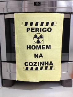 Pano de Prato PERIGO HOMEM NA COZINHA | Ateliê Laço Rosa | 28C2A0 - Elo7