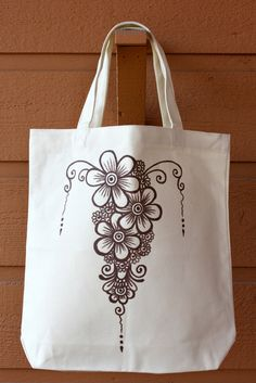 SALE - Cream Tote Bag Book Bag Beach Bag with Brown Floral Henna Design by ibleedheART, $15.00