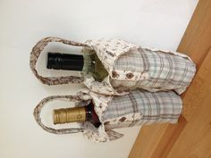 Just to say thanks - wine bottle carriers made from the sleeves of a secondhand blouse dress up a gift quite nicely