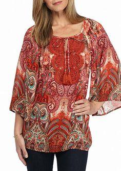 Kim Rogers® 3/4 Sleeve Peasant Crochet Top