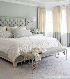 Gorgeous gray,cream and white bedroom...such an elegant combo