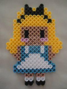 Alice from Alice in Wonderland 2 by VividWanderer on DeviantArt Easy Perler Bead Patterns, Melty Bead Patterns, Perler Bead Templates, Diy Perler Beads, Perler Bead Art, Beading Patterns, Hama Disney, Hama Beads Disney, Hama Beads Kawaii