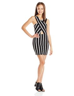 Derek Heart Juniors' Crossover Peek A Boo Tummy Stripe Body Con Dress * Discover this special product, click the image : Dresses Sale