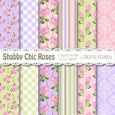 Shabby Chic Digital Paper LILAC PINK GREEN by DigitalStories, €2.60