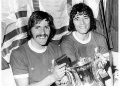 1974 FA Cup Final at Wembley.Steve Heighway and Kevin Keegan with the FA Cup after Liverpool had beaten Newscatle United.