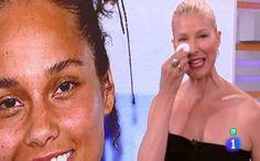 Anne Igartiburu se quita el maquillaje en directo en apoyo a Alicia Keys