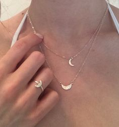 Moon Ring & Necklaces Collection- Sterling Silver - Valentine by CopperfoxGemsJewelry on Etsy https://www.etsy.com/listing/182883656/moon-ring-necklaces-collection-sterling