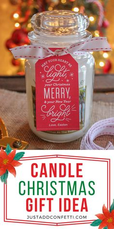 This Candle Christmas Gift Idea is such an easy way to dress up a candle gift. Add my Just Add Confetti printable gift tag for a sweet Christmas gift in minutes. Also, head to justaddconfetti.com to see a bunch of other fun DIY Christmas gift ideas!