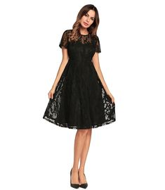 b67d743dc9 Black Illusion Floral Lace Knee-Length Dress With Short Sleeves