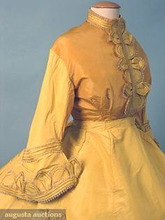 PARIS YELLOW SILK PROMENADE DRESS, c. 1868