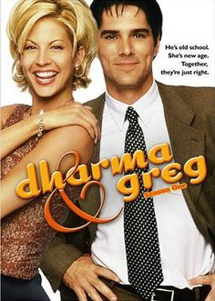 Dharma and Greg. Loved it. New age Dharma (Jenna Elfman) and conservative Greg (Thomas Gibson). Aired from 1997-2002.
