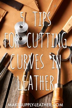 Cutting curves in leather can be tough! Overcutting and undercutting the edge are common pitfalls. Check out our 5 tips for cutting curves in leather to help you cut them accurately every time! Leather Carving, Leather Art, Sewing Leather, Leather Tooling, Leather Jewelry, Leather Totes, Custom Leather, Leather Cuffs, Vintage Leather