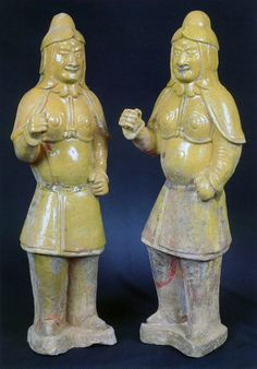 Pair of glazed terracotta military officers, Sui Dynasty 581-618 AD.   In a realistic representation, these two military figurines exemplify the transformation of tomb objects, reflecting the strength, vigor, and wealth of the unified Sui Empire. Tomb figurines once again claim their superior position among Chinese classical sculptural forms