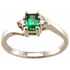 Diamond and emerald ring with 0.06tdw and 5x3 emerald cut emerald in 14k white gold | #emerald #May #birthstone